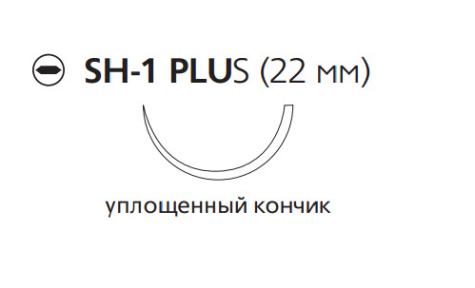 Монокрил Плюс (Monocryl Plus) 4/0, длина 70см, кол. игла 22мм, 1/2 окр., уплощенный кончик, фиолетовая нить (MCP218H)