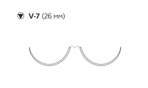 Этибонд Эксель (Ethibond Excel) 2/0, длина 90см, 2 кол-реж. иглы 26мм, 3/8 окр., зеленая нить (X966H)