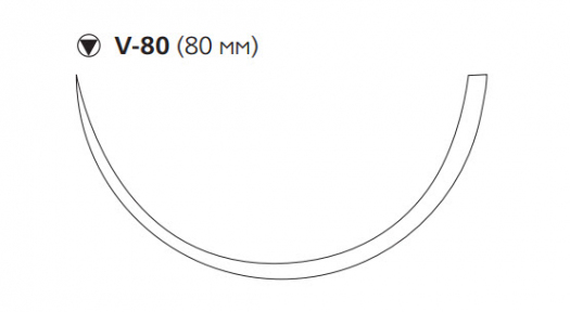 Викрил (Vicryl) 0, длина 75см, кол-реж. игла 80мм, 1/2 окр., фиолетовая нить (W9369)