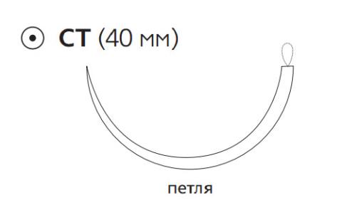 Этилон (Ethilon) 0, длина 200см, кол. игла 40мм, 1/2 окр., петля, черная нить (W760)