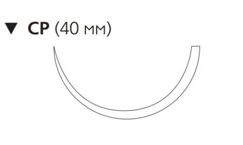 Монокрил (Monocryl) 1, длина 90см, обр-реж. игла 40мм, 1/2 окр., фиолетовая нить (W3770)