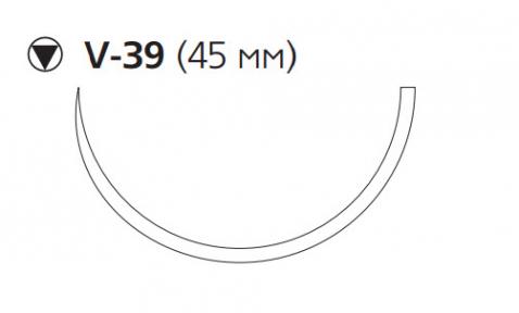 Викрил Плюс (Vicryl Plus) 0, длина 70см, кол-реж. игла 45мм VCP9376H