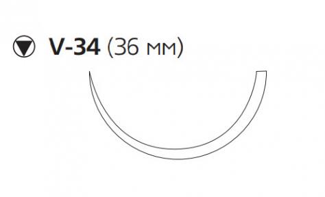 Монокрил (Monocryl) 0, длина 70см, кол-реж. игла 36мм, 1/2 окр., фиолетовая нить (W3489)