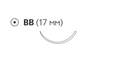 Рассасывающийся шовный материал с антибактериальным покрытием ПДС Плюс (PDS Plus) 4/0, длина 70см, кол. игла 17мм, 3/8 окр., фиолетовая нить (PDP9077H) Ethicon (Этикон)