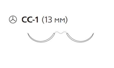 Нерассасывающийся шовный материал Пронова (Pronova) 6/0, длина 60см, 2 кол. иглы 13мм CC , 3/8 окр., синяя нить (PN8605H) Ethicon (Этикон)
