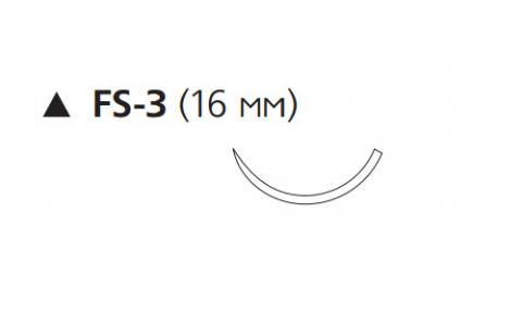Викрил Рапид (Vicryl Rapide) 3/0, длина 75см, реж. игла 16мм, 3/8 окр., неокрашенная нить (W9925)