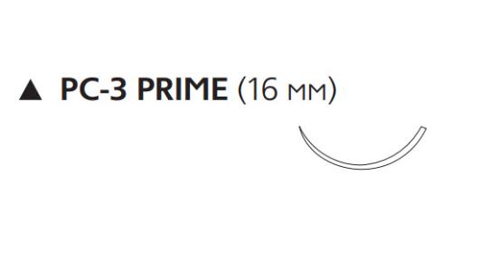 Этилон (Ethilon) 6/0, длина 45см, реж. игла 16мм Prime, 3/8 окр., черная нить (W1615T)