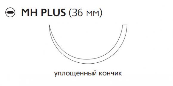 Викрил (Vicryl) 2/0, длина 75см, кол. игла 36мм, 1/2 окр., уплощенный кончик, фиолетовая нить (W9140)