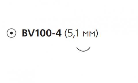 Нерассасывающийся шовный материал Пролен (Prolene) 10/0, длина 13см, кол. игла 5,1мм BV100, 3/8 окр. (W2794) Ethicon (Этикон)