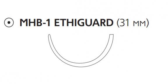 Викрил (Vicryl) 2/0, длина 75см, тупоконечная игла 31мм Ethiguard, 1/2 окр., фиолетовая нить (W9984)