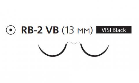 Пролен (Prolene) 5/0, длина 75см, 2 кол. иглы 13мм Visi Black W8310