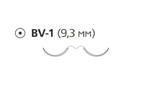 Рассасывающийся шовный материал с антибактериальным покрытием ПДС Плюс (PDS Plus) 6/0, длина 70см, 2 кол. иглы 9,3мм, 3/8 окр., фиолетовая нить (PDP1702H) Ethicon (Этикон)