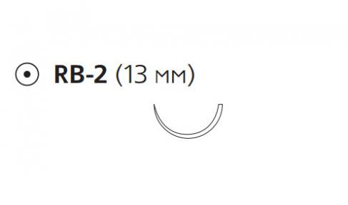ПДС II (PDS II) 6/0, длина 45см, кол. игла 13мм, 1/2 окр., фиолетовая нить (W9100H)