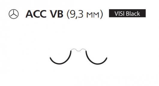 Пролен (Prolene) 7/0, длина 60см, 2 кол. иглы 9,3мм ACC Visi Black, сложный изгиб (W8121)
