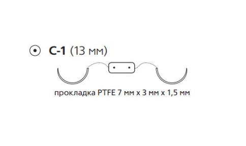 Этибонд Эксель (Ethibond Excel) 4/0, PTFE, длина 75см, 2 кол. иглы 13мм X726H
