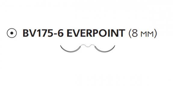Пролен (Prolene) 8/0, длина 60см, 2 кол. иглы 8мм BV175 Everpoint EP8741H