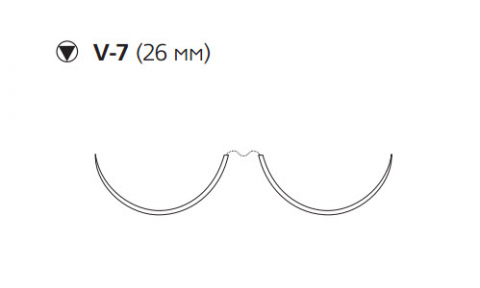 Этибонд Эксель (Ethibond Excel) 3/0, длина 75см, 2 кол-реж. иглы 26мм X976H