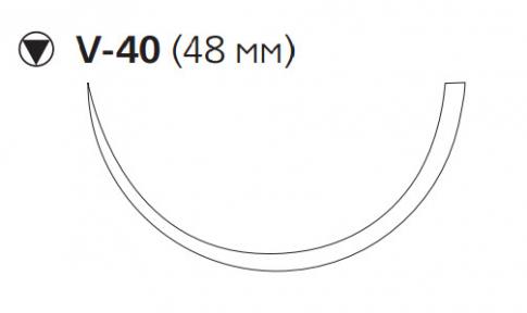 ПДС Плюс (PDS Plus) 1, длина 90см, кол-реж. игла 48мм, 1/2 окр., фиолетовая нить (PDP9396H)