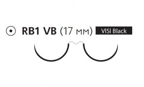 Пролен (Prolene) 4/0, длина 90см, 2 кол. иглы 17мм Visi Black W8329