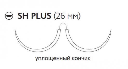 Монокрил (Monocryl) 3/0, длина 70см, 2 кол. иглы 26мм, 1/2 окр., уплощенный кончик, фиолетовая нить (W3627)