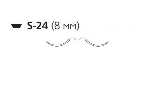 Викрил (Vicryl) 6/0, длина 45см, 2 шпательные иглы 8мм, 1/4 окр., фиолетовая нить (W9552)