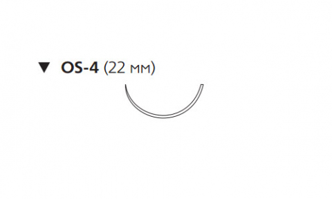 Этибонд Эксель (Ethibond Excel) 1, длина 75см, обр-реж. игла 22мм, 1/2 окр., зеленая нить (6518H)