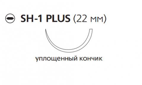 Викрил Плюс (Vicryl Plus) 4/0, длина 70см, кол. игла 22мм, 1/2 окр., уплощенный кончик, фиолетовая нить (VCP310H)