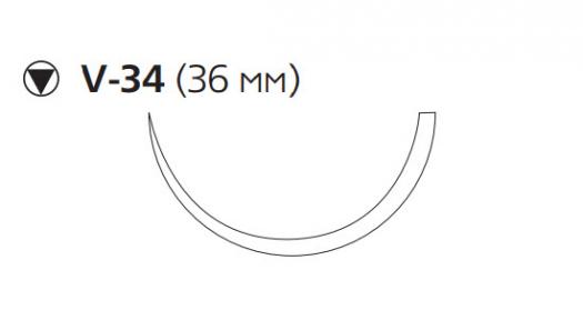 Рассасывающийся шовный материал Викрил Рапид (Vicryl Rapide) 1, длина 90см, кол-реж. игла 36мм, 1/2 окр., неокрашенная нить (W9964) Ethicon (Этикон)