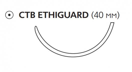 Нерассасывающийся шовный материал Пролен (Prolene) 1, длина 100см, тупоконечная игла 40мм Everpoint, 1/2 окр. (W8998) Ethicon (Этикон)