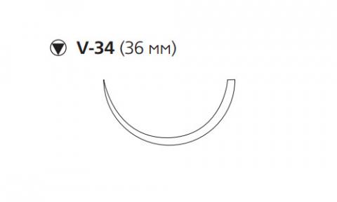 Рассасывающийся шовный материал ПДС II (PDS II) 0, длина 90см, кол-реж. игла 36мм, 1/2 окр., фиолетовая нить (W9381H) Ethicon (Этикон)