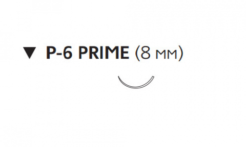 Нерассасывающийся шовный материал Этилон (Ethilon) 6/0, длина 45см, обр-реж. игла 8мм Prime, 3/8 окр., черная нить (W1600T) Ethicon (Этикон)