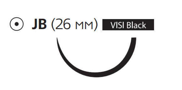 Викрил (Vicryl) 0, длина 70см, кол. игла 26мм Visi Black, 1/2 окр., фиолетовая нить (W9122)