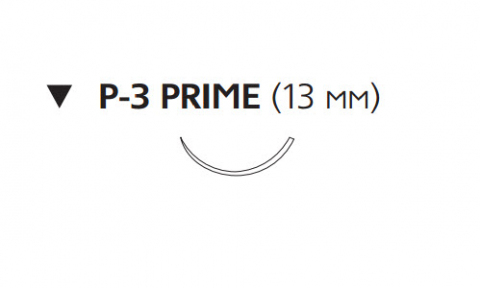 Рассасывающийся шовный материал с антибактериальным покрытием Викрил Плюс (Vicryl Plus) 4/0, длина 45см, обр-реж. игла 13мм Prime, 3/8 окр., неокрашенная нить (VCP494H) Ethicon (Этикон)