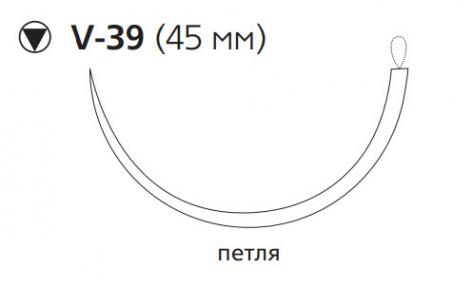 Нерассасывающийся шовный материал Этилон (Ethilon) 1, длина 200см, кол-реж. игла 45мм, 1/2 окр., петля, черная нить (W757) Ethicon (Этикон)